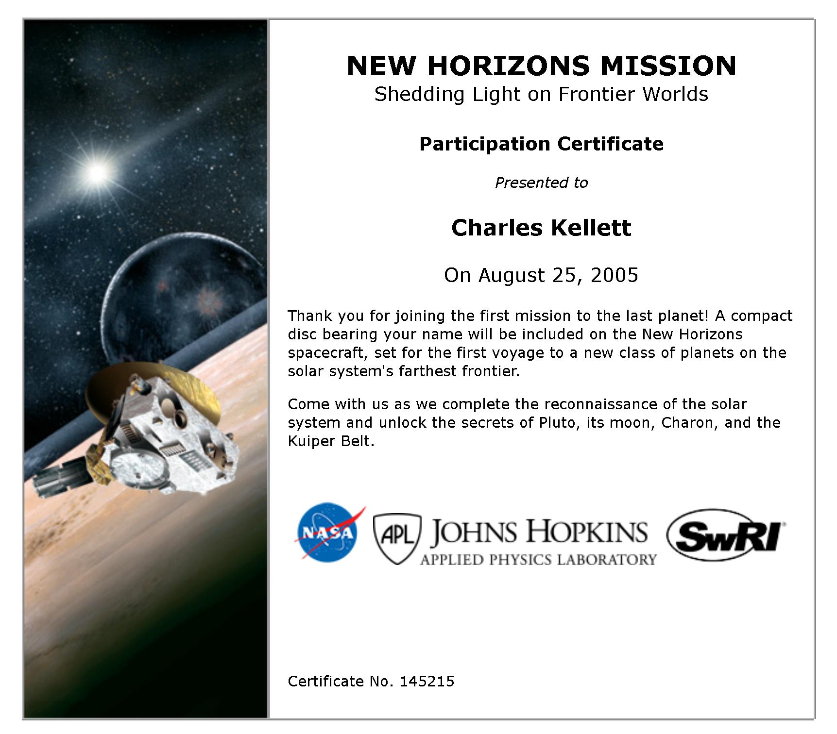 New Horizons Certificate