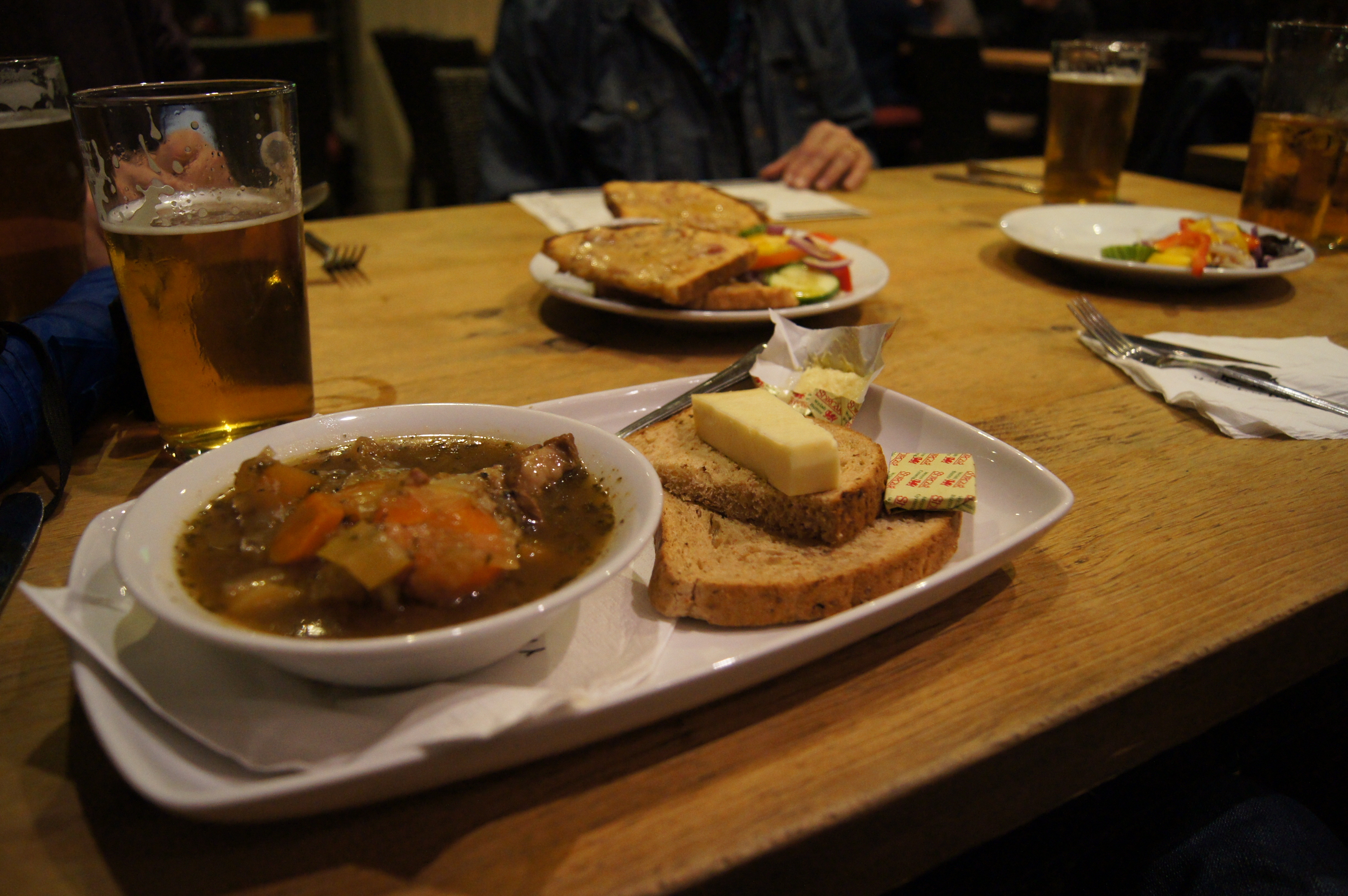Lamb stew washed down with a pint
