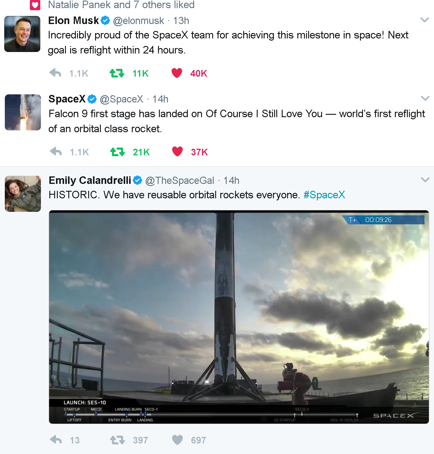 SpaceX reusable Rockets tweets